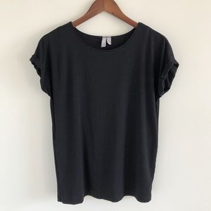 ASOS Black Cuffed Short Sleeve Top Size US 2